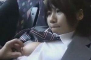 電車に乗った女子校生に向かい側席のサラリーマンが痴漢しだす