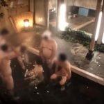 素人娘がタオル一枚でお風呂に入浴、オッサン達が群がってきてさあ大変!